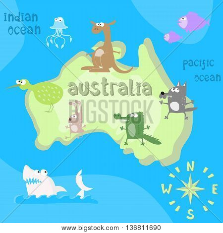 Concept design map of australian continent with animals drawing in funny cartoon style for kids and preschool education. Vector illustration