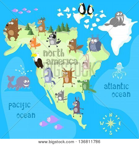 Concept design map of north american continent with animals drawing in funny cartoon style for kids and preschool education. Vector illustration