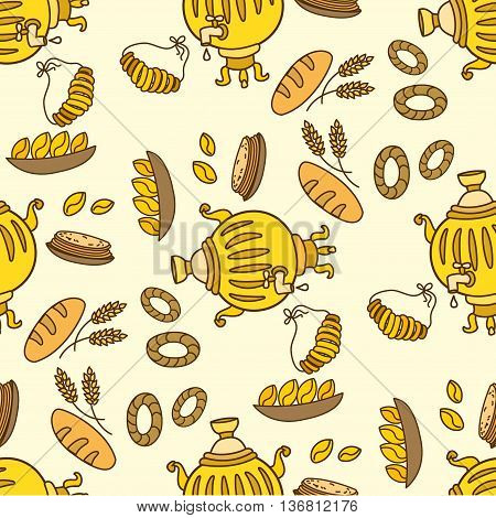 Seamless pattern with Samovar and Russian traditional foodvector
