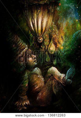 little forest dwarf living under leaves, colorful illustration.