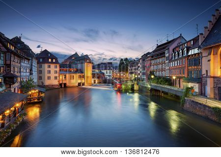Strasbourg. Image of Strasbourg old town during twilight blue hour.