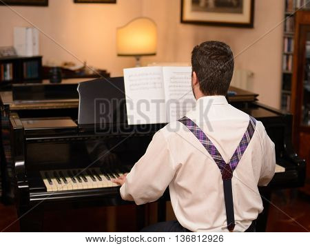 Back view of music performer playing his piano