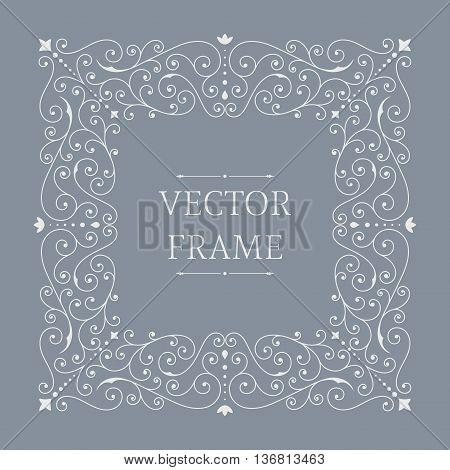 Elegant luxury floral frame. Square design template. Monogram identity, business sign, logo design. Lineart vector illustration.