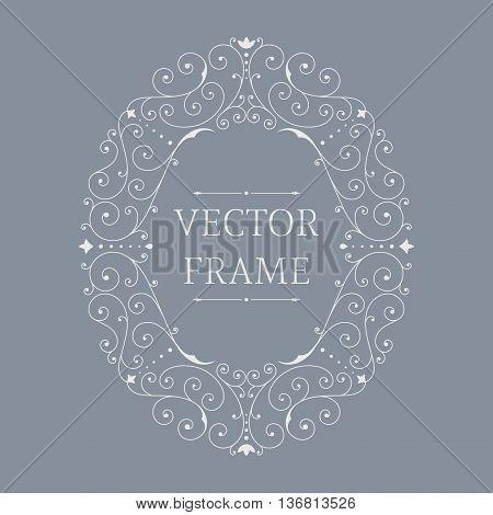 Elegant luxury floral frame. Oval design template. Monogram identity, business sign, logo design. Lineart vector illustration.