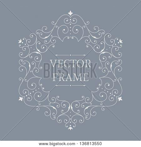 Elegant luxury floral frame. Hexagon design template. Monogram identity, business sign, logo design. Lineart vector illustration.