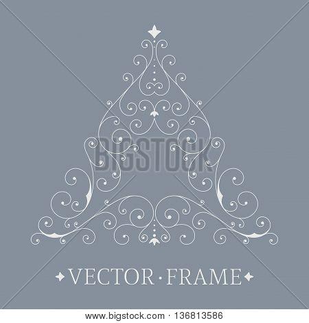 Elegant luxury floral frame. Triangle design template. Monogram identity, business sign, logo design. Lineart vector illustration.