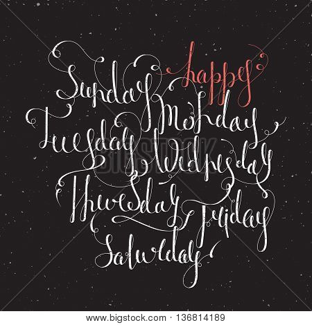 Handwritten days of the week Monday, Tuesday, Wednesday, Thursday, Friday, Saturday, Sunday. Handdrawn calligraphy lettering for diary, banner, calendar and planner. Isolated vector illustration