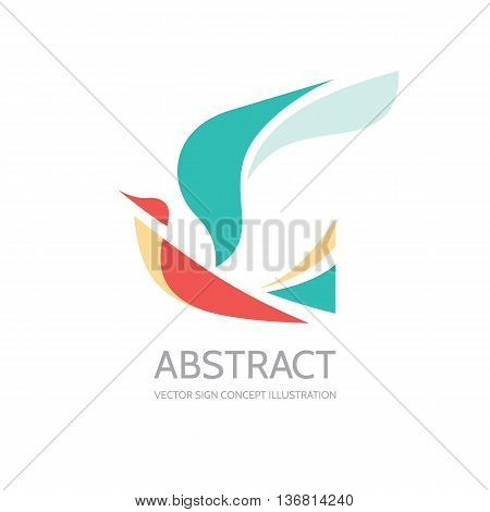 Abstract bird - vector logo template concept illustration. Dove sign. Wings symbol. Design element.