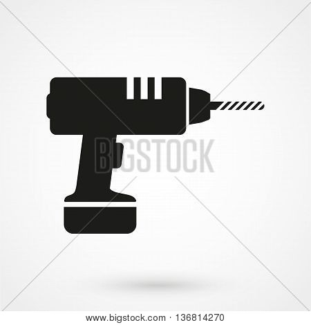 Drill Icon On White Background In Flat Style. Simple Vector