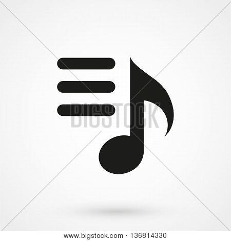 Playlist Icon On White Background In Flat Style. Simple Vector