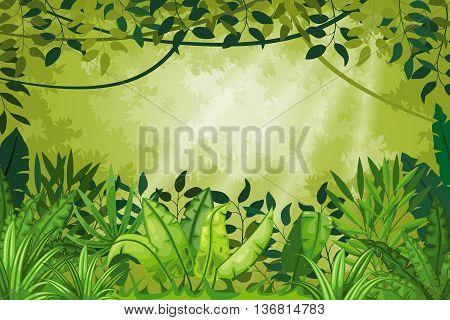 Illustration jungle landscape with many green plants