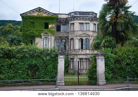 7 june 2016-stresa-italy-ancient and beautiful nineteenth century villa in disuse located in Stresa