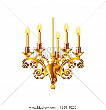 Golden chandelier isolated on white photo-realistic vector illustration