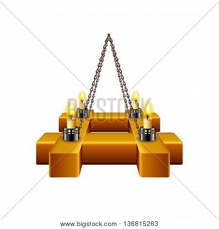 Medieval chandelier isolated on white photo-realistic vector illustration