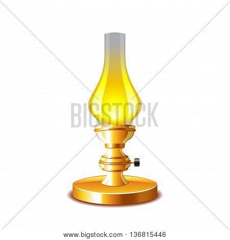 Old kerosene lamp isolated on white photo-realistic vector illustration