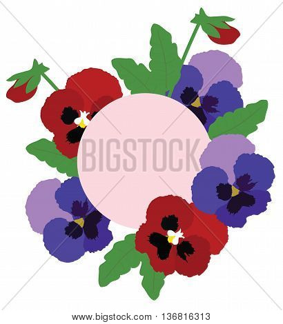 vector illustration of floral background with pansies
