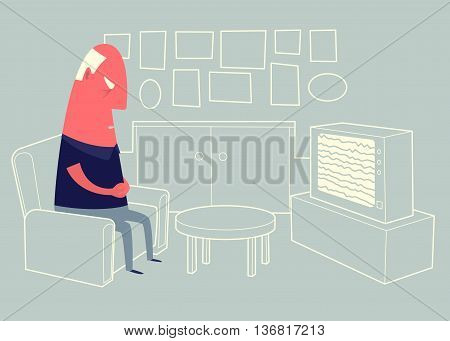 Old man sitting in armchair in front of tv set and sleeping.