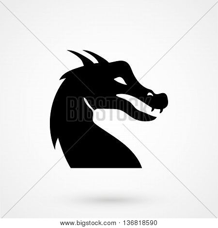 Dragon Icon On White Background In Flat Style. Simple Vector