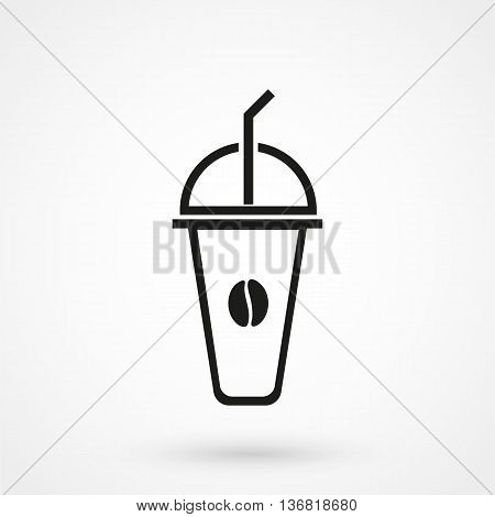 Ice Coffee Icon On White Background In Flat Style. Simple Vector