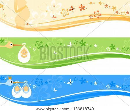 Beautiful set of baby banners. Vector illustration.