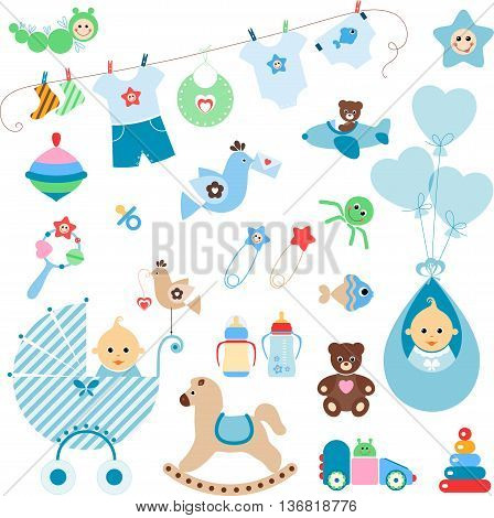 Beautiful set of newborn elements. A set of cute items for newborn baby boy.