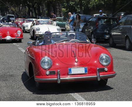 Naples,Italy June 07, 2016: Vintage Porsche 356 during the annual historical re-enactment of the Grand Prix of Naples