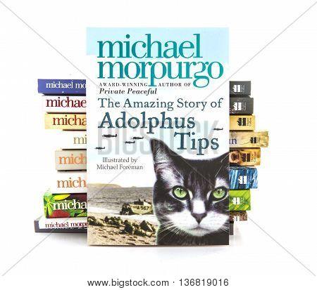 SWINDON UK - JULY 2 2016: The Amazing Story Of Adolphus Tips by Michael Morpurgo on a white background
