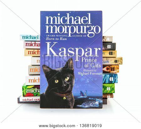 SWINDON UK - JULY 11 2016: Kaspar Prince of Cats by Michael Morpurgo on a white background