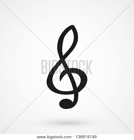 Treble Icon On White Background In Flat Style. Simple Vector
