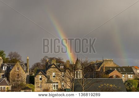 Rainbow Over The Rooftops Of St Andrews, Fife, Scotland