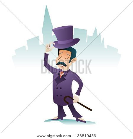 Cheer Greeting Meet Great Britain Victorian Gentleman Businessman Character Icon Stylish English City Background Retro Cartoon Vintage Design Vector Illustration