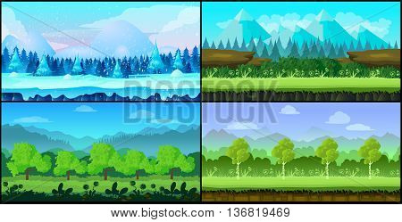 Game backgrounds Vector seamless set, 2d game application. Vector design. . Size 1024x512. layers