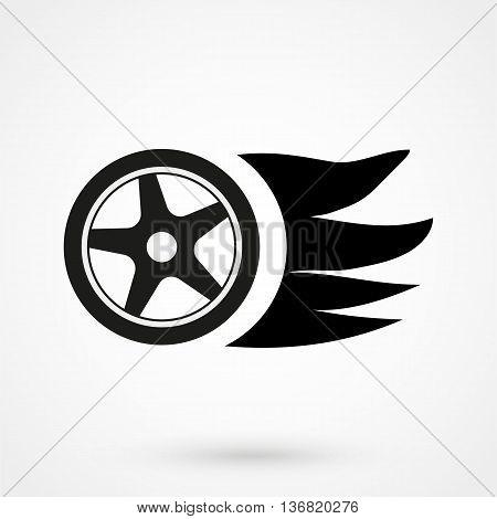Burning Wheel Icon On White Background In Flat Style. Simple Vector