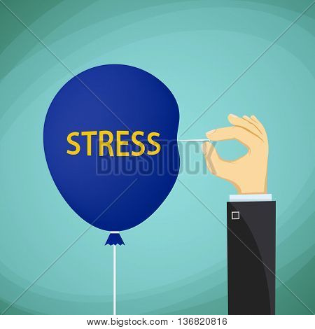 Man holds a needle and a balloon with the word stress. Stock Vector cartoon illustration.