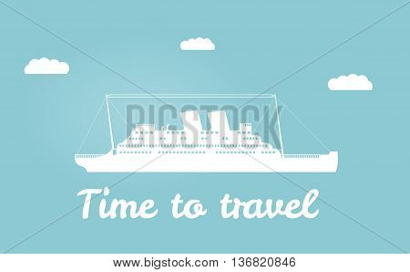 Vector an illustration with the image of the ship for a banner and a leaflet travel for  cruise liner cloud