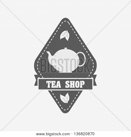 Tea Shop Badge, Label Or Logo Design Template With Tea Pot And Tea Leaves