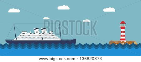 Vector an illustration with the image of the ship and a beacon for a banner and a leaflet  travel of  cruise liner