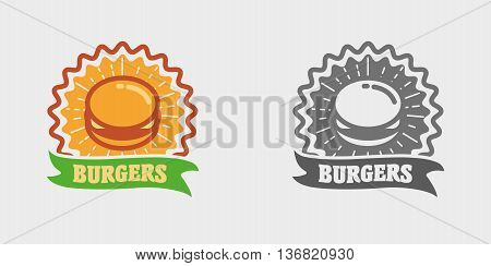 Vector Vintage Fast Food Logo, Icon Or Badge Concept With Burger. Hipster Burger Sign. Monochrome An