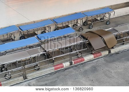 Medical Equipment Top View of Empty Mobile Beds Preparing to Use in A Hospital.