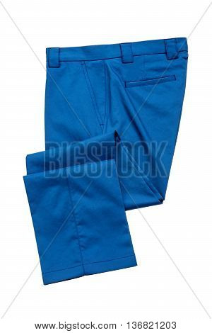Light blue pants trousers for man on white background