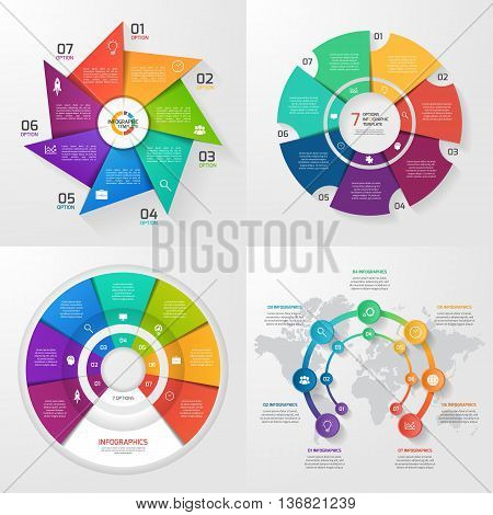 Set of four vector infographic templates. Business education industry science concept with 7 values options parts steps processes.
