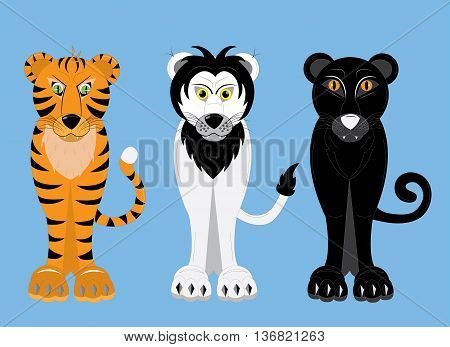 Predatory big cats tiger, lion, panther. Illustration.
