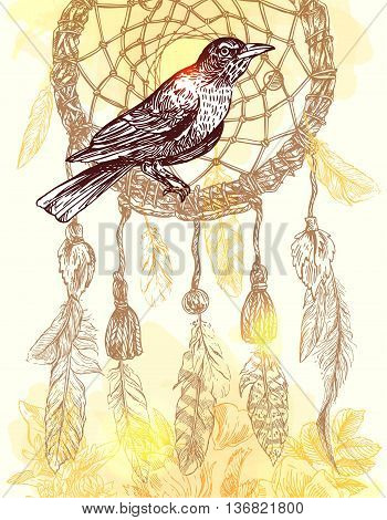 Beautiful hand drawn vector  illustration bird and dreamcather. Boho style drawing. Use for t-shirts, print, poster, postcard, wedding invitations.