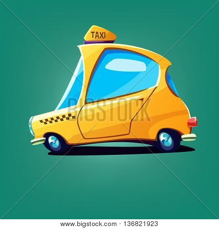 Cartoon rapid yellow taxi car. Vector illustration