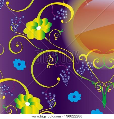 Seamless vector background with pattern of green, twisting vines, flowers and sun