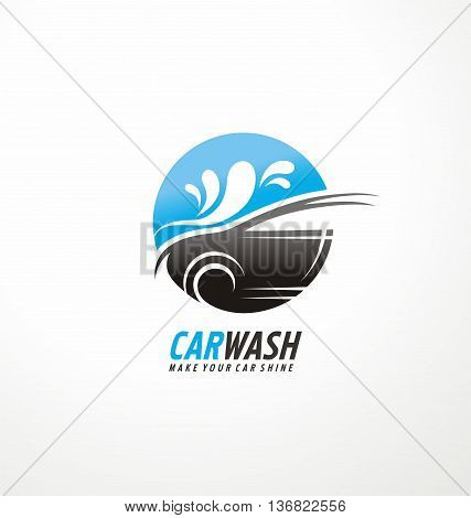 Creative logo design concept for car wash and auto cosmetics service with car silhouette and water splash in negative space.