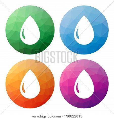 Set Of 4 Isolated Modern Low Polygonal Buttons - Icons - For Drop, Raindrop, Liquid