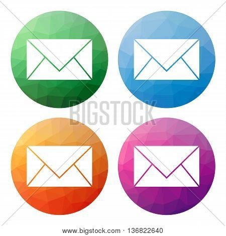 Set  Of 4 Isolated Modern Low Polygonal Buttons - Icons - For  Mail, E-mail, Message Or Send Us Badg