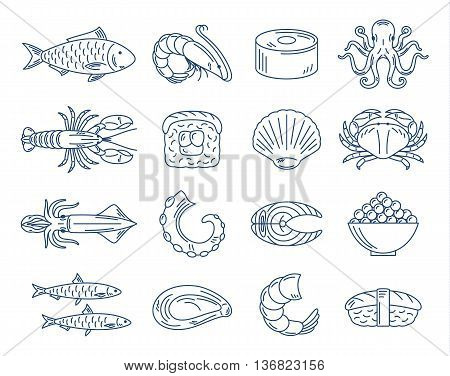 Vector seafood and sushi blue icons collection for groceries stores sushi bars and advertising.