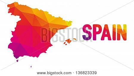 Low Polygonal Map Of Spain In Warm Colors, Mosaic Abstract Geometry Cartography